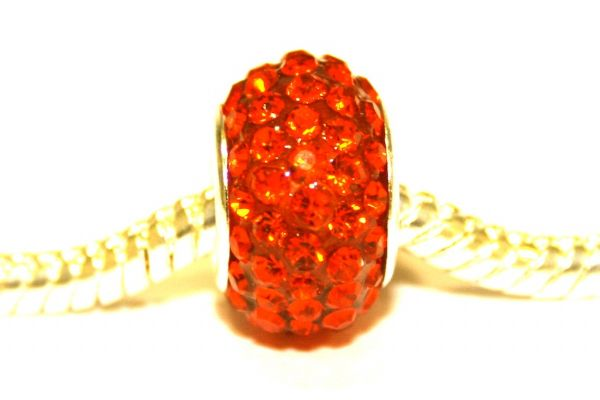 Orange 12mm x 8mm Pave crystal bead with 5mm hole PD-S-12- 18